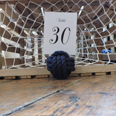 "Nautical Knot Nautical Knot Card Holder, Navy, 4"", 3-Pass handmade at Mystic Knotwork"