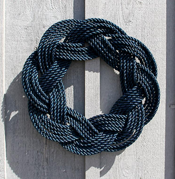 Nautical Wreath, Lobster Rope Sailor Knot Exterior Grade, Navy