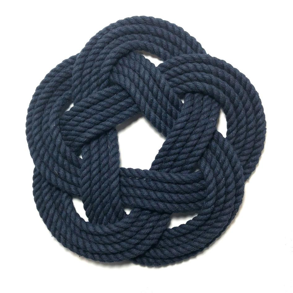 "10"" Nautical Sailor Knot Trivet, Navy Cotton Rope, Large"