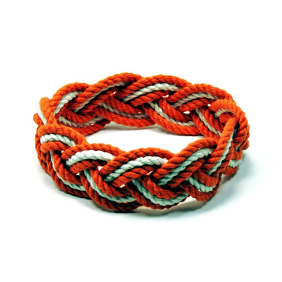 Nautical Knot Striped Sailor Bracelet, Tropical Colors w/ White Stripe handmade at Mystic Knotwork