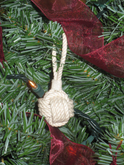 Nautical Monkey Fist Christmas Ornament, Nautical Holiday Ball Handmade sailor knot American Made in Mystic, CT $ 6.00