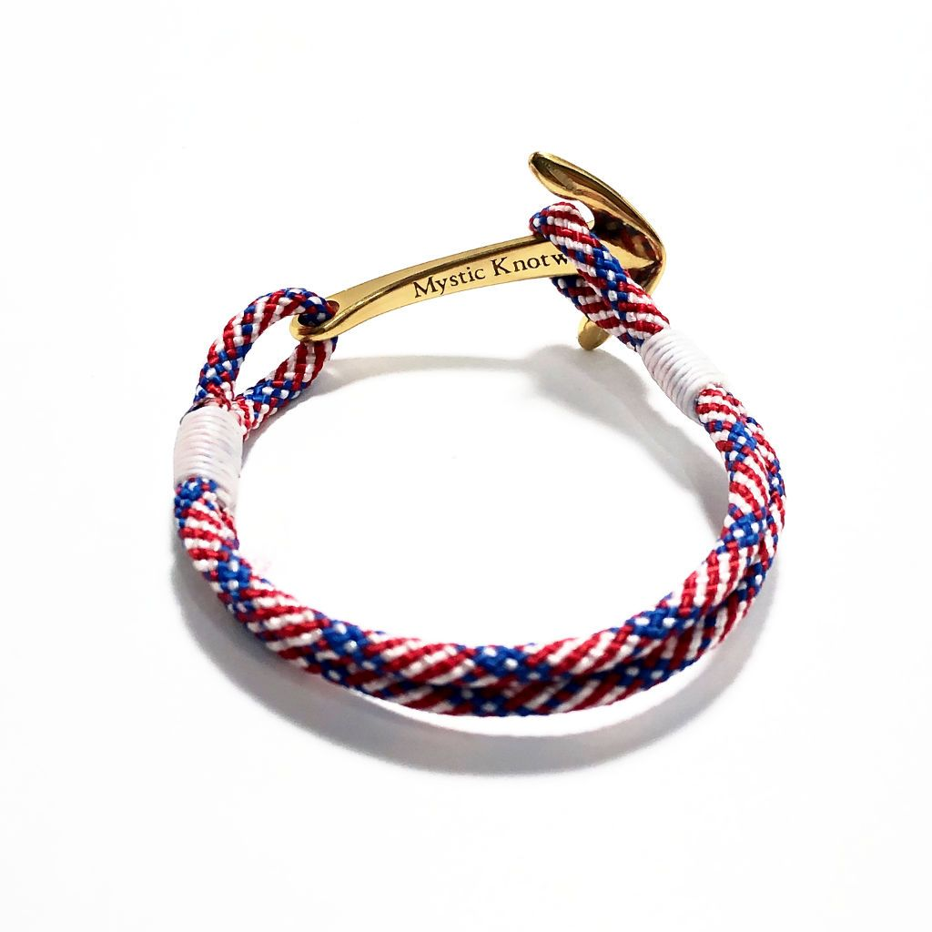 Patriotic Nautical Anchor Bracelet Brass 187