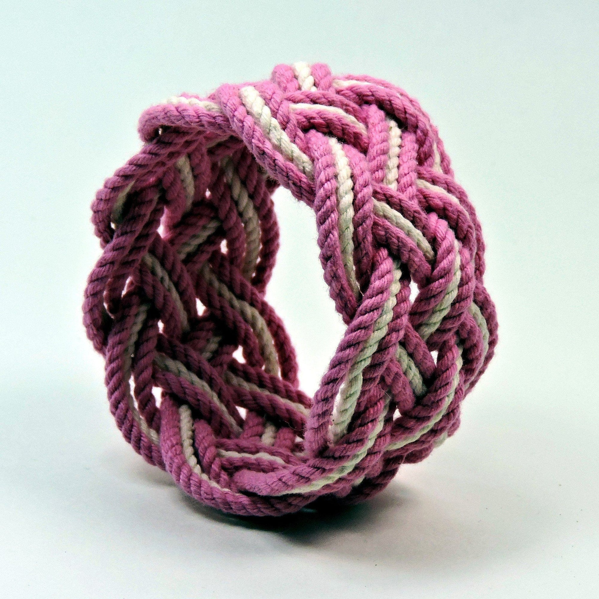 Nautical Knot Wide Striped Sailor Knot Bracelet handmade at Mystic Knotwork
