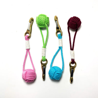 Nautical Knot Monkey Fist Key Chain, Burgee Clip, Choose from 18 Colors handmade at Mystic Knotwork