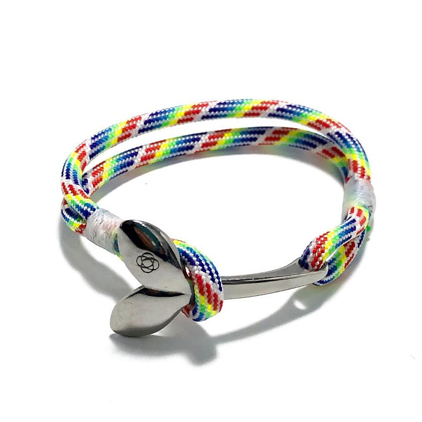 Nautical Knot Rainbow Nautical Whale Tail Bracelet Stainless Steel 137 handmade at Mystic Knotwork