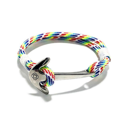 Nautical Anchor Bracelet in Rainbow Pride colors handmade by Mystic Knotwork