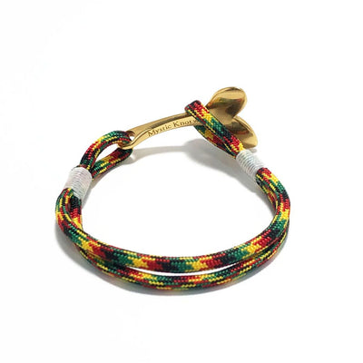 Rasta Nautical Whale Tail Bracelet Brass 191