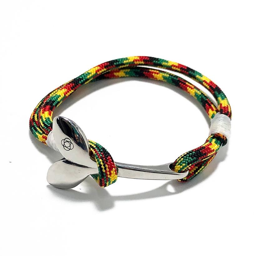 Nautical Knot Rasta Nautical Whale Tail Bracelet Stainless Steel 191 handmade at Mystic Knotwork