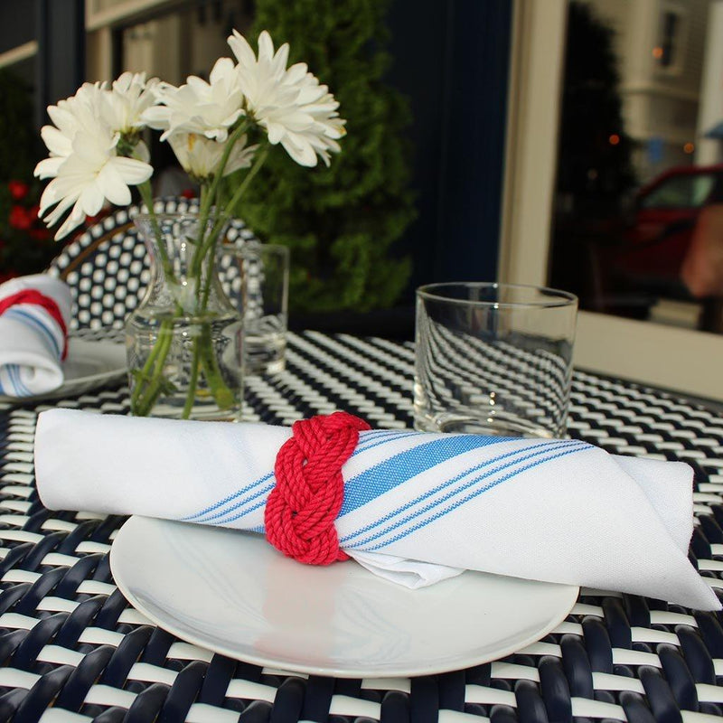 Nautical Knot Sailor Knot Napkin Rings, Nautical Colors, Set of 4 handmade at Mystic Knotwork