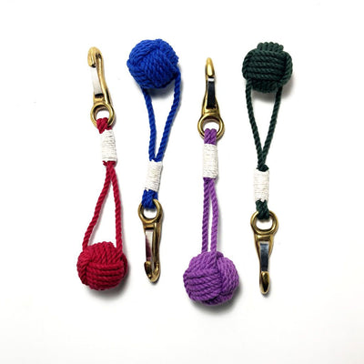 Nautical Monkey Fist Key Chain, Burgee Clip, Choose from 18 Colors Handmade sailor knot American Made in Mystic, CT $ 9.00
