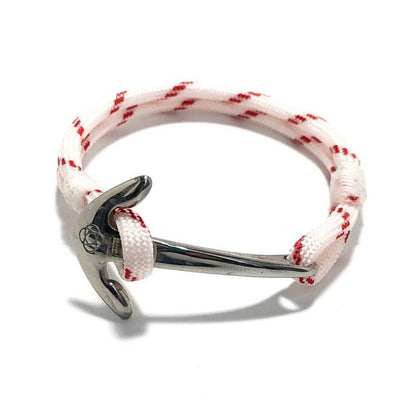 Nautical Knot Red Stripe Nautical Anchor Bracelet Stainless Steel 164 handmade at Mystic Knotwork