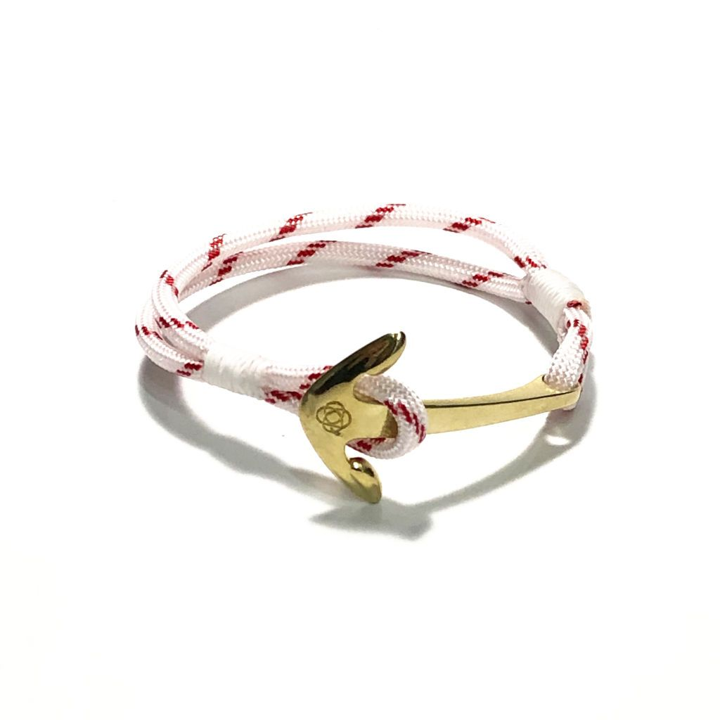 Red Stripe Nautical Anchor Bracelet Brass 164