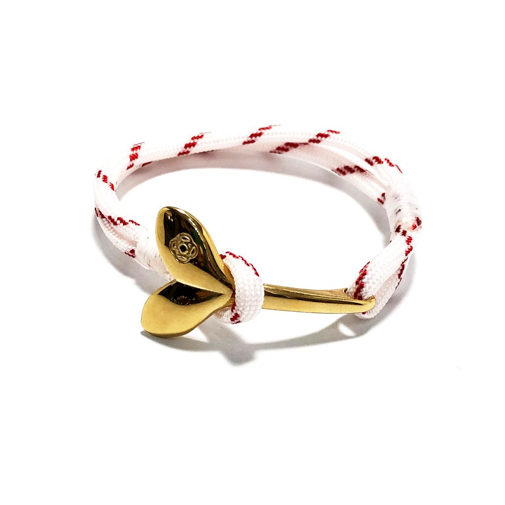 Red Stripe Nautical Whale Tail Bracelet Brass 164