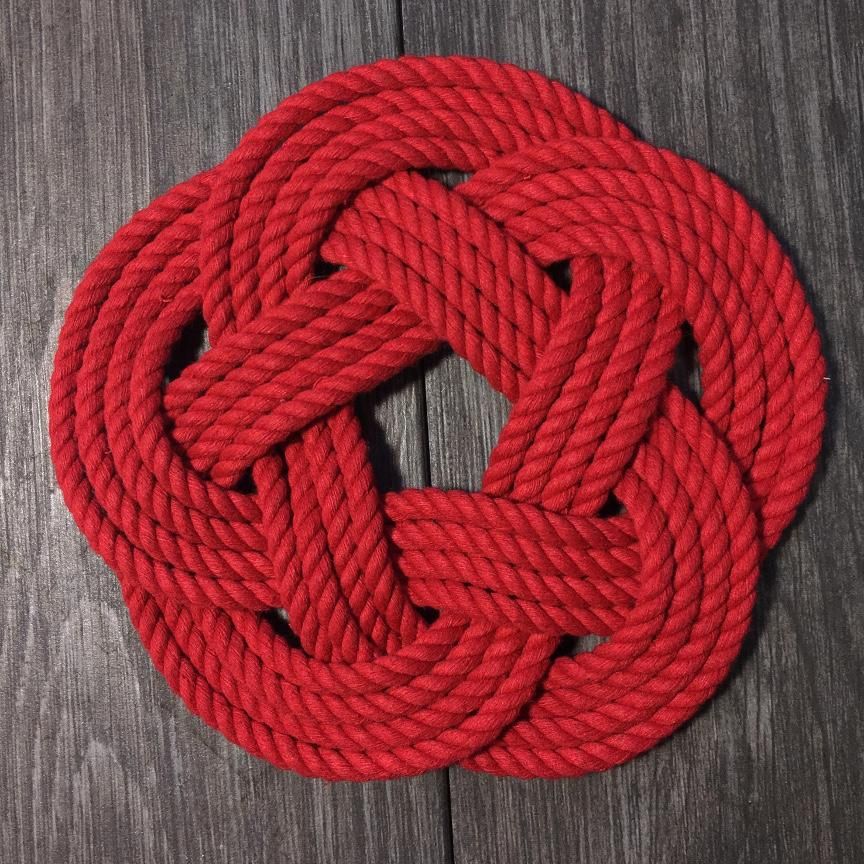 "7"" Nautical Sailor Knot Trivet, Red Cotton Rope, Small"