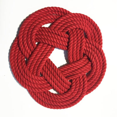 Nautical Sailor Knot Trivet, Red Cotton Rope, Small - Mystic Knotwork nautical knot