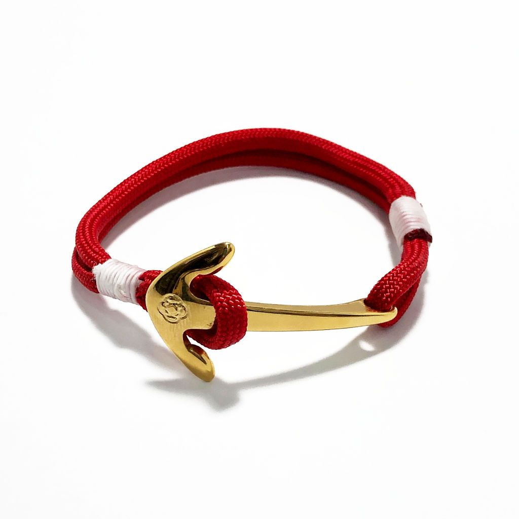 Red Nautical Anchor Bracelet Brass 028