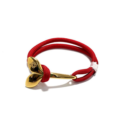 Red Nautical Whale Tail Bracelet Brass 028