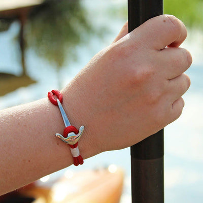 Red Nautical Anchor Bracelet Stainless Steel 028