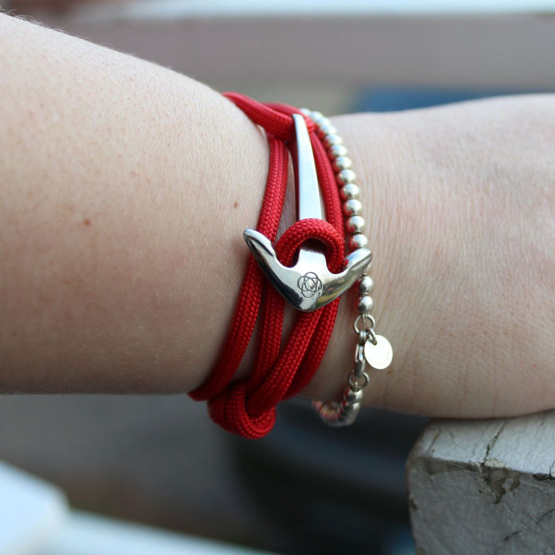 Red Adjustable Anchor Wrap Use as a Bracelet,Anklet,or Necklace 028
