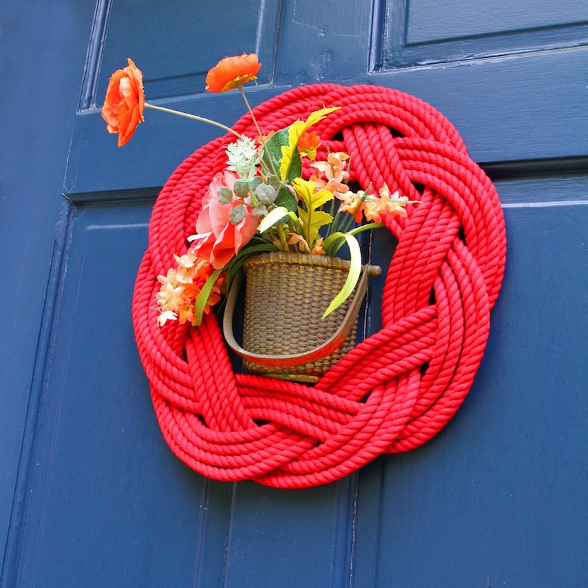 Sailor Knot Wreath or Centerpiece, Red WITH FRAME