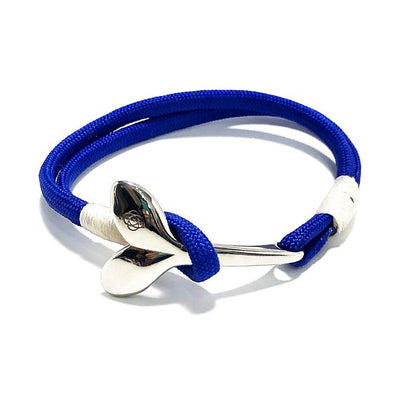 Nautical Knot Royal Blue Nautical Whale Tail Bracelet Stainless Steel 29 handmade at Mystic Knotwork