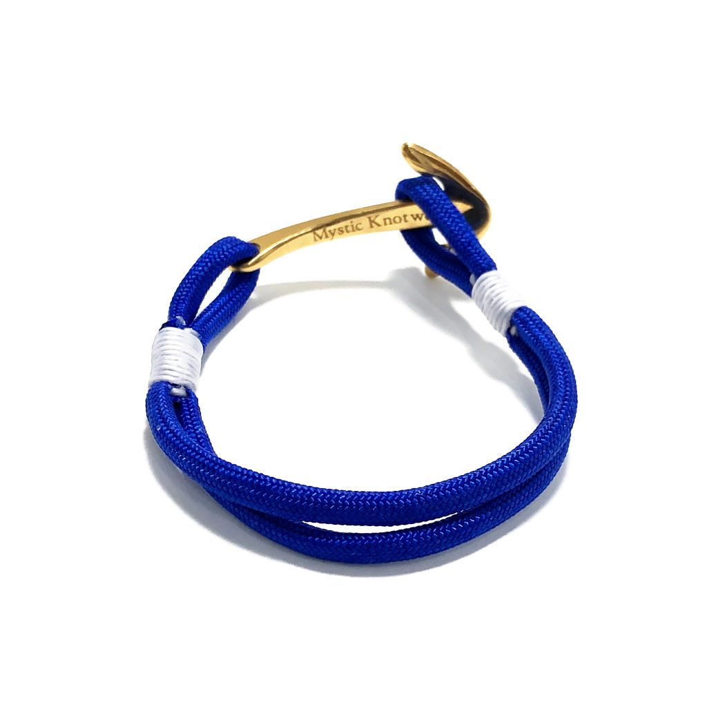 Royal Blue Nautical Anchor Bracelet Brass 029