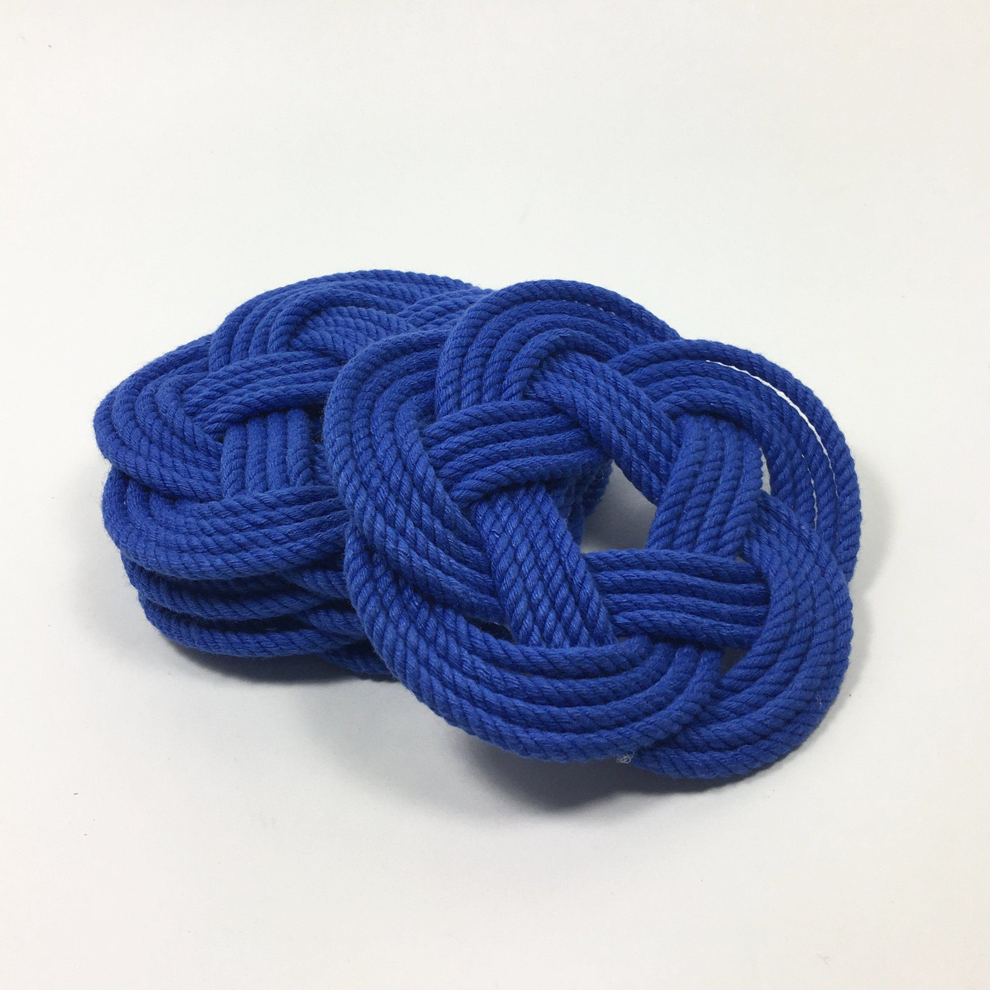 Nautical Knot Sailor Knot Coasters, woven in Royal Blue, Set of 4 handmade at Mystic Knotwork