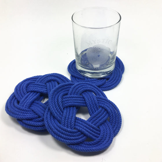 Sailor Knot Coasters, Royal Blue, Set of 4