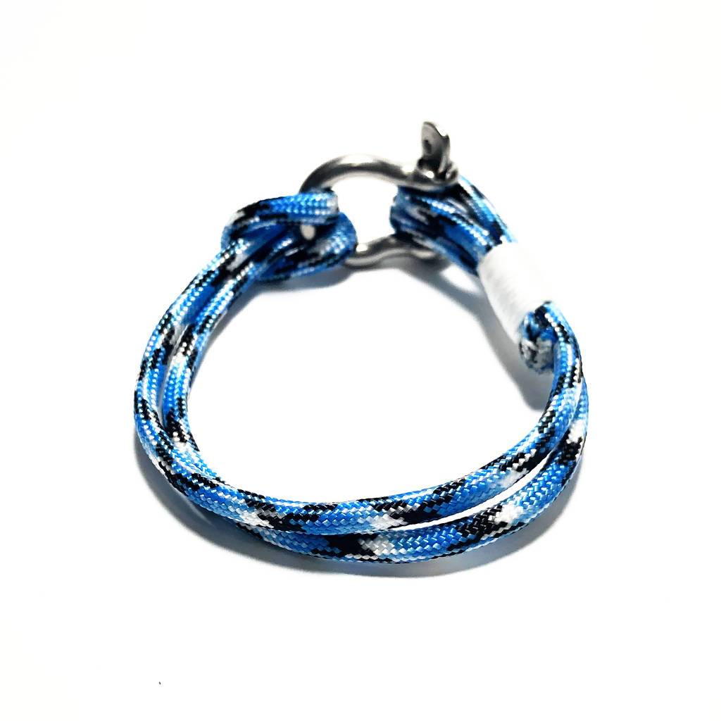 Nautical Blue Ice Nautical Shackle Bracelet 074 Handmade sailor knot American Made in Mystic, CT $ 18.00