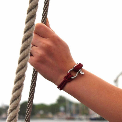 Nautical Shackle Bracelet Burgundy 022 handmade by Mystic Knotwork