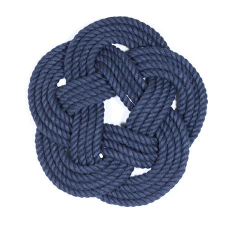 "7"" Nautical Sailor Knot Trivet, Navy Cotton Rope, Small"