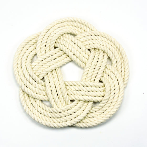 Nautical Sailor Knot Trivet, Natural Cotton Rope, Small