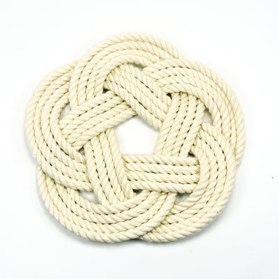 Nautical Nautical Sailor Knot Trivet, Natural Cotton Rope, Small Handmade sailor knot American Made in Mystic, CT $ 16.00