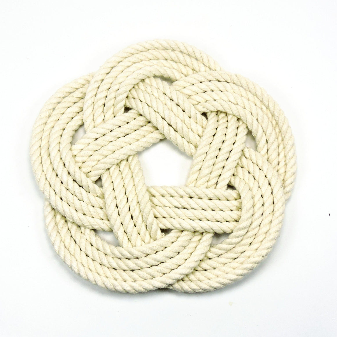 Nautical Sailor Knot Trivet, Natural Cotton Rope, Small - Mystic Knotwork nautical knot