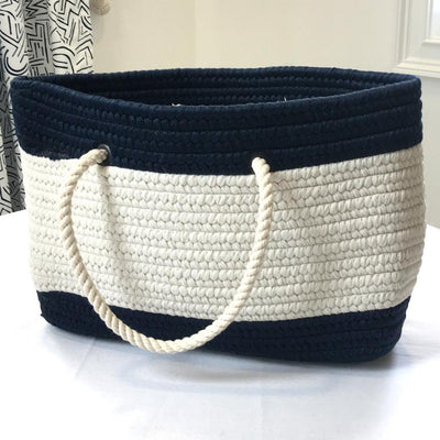 Nautical Nautical Stripe Tote - Small Navy and White Handmade sailor knot American Made in Mystic, CT $ 85.00
