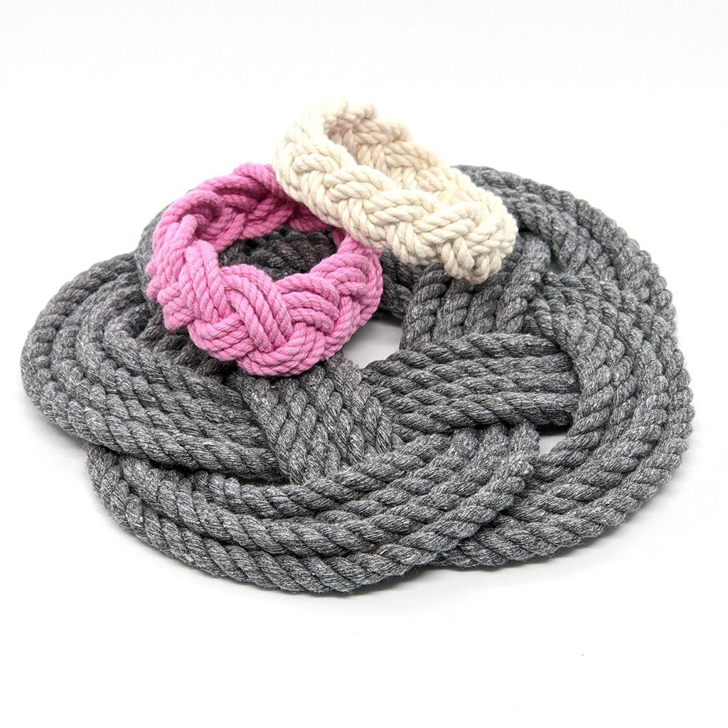 "7"" Nautical Sailor Knot Trivet, Gray Cotton Rope, Small"