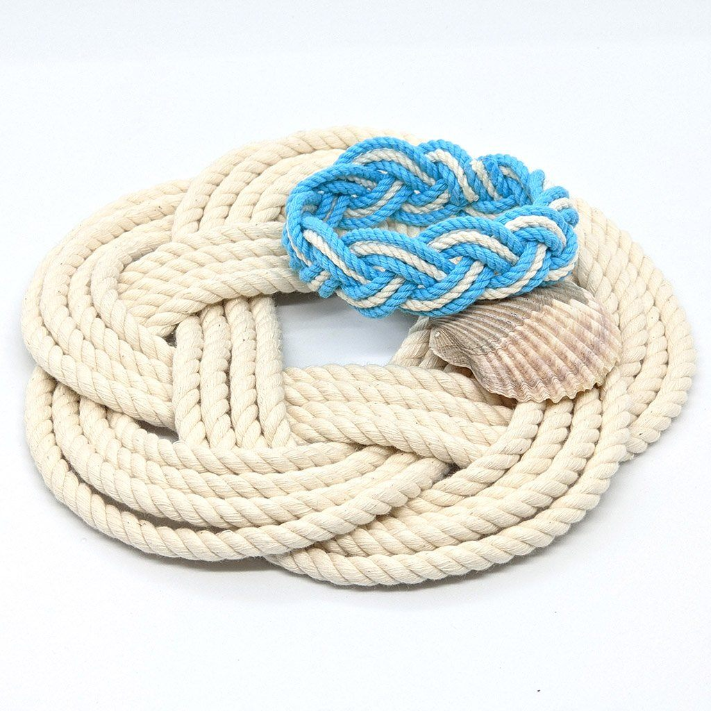 "7"" Nautical Sailor Knot Trivet, White Cotton Rope, Small"