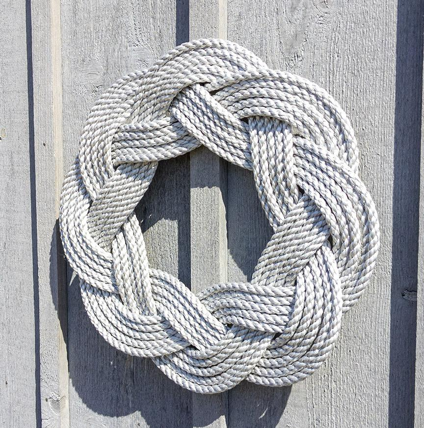 Nautical Wreath, Lobster Rope Sailor Knot Exterior Grade, Soft Gray