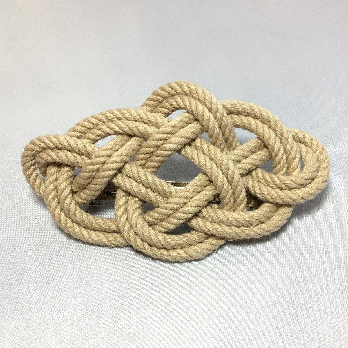 Nautical Celtic Weave Cage Back Barrette Handmade sailor knot American Made in Mystic, CT $ 12.00