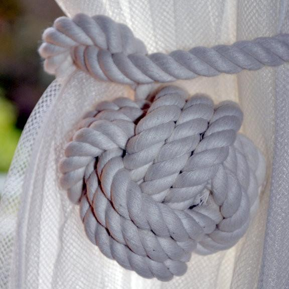 FREE Shipping White Rope Knotted Tie Back Monkey Fist Knotted Double Looped Pull Back Curtain Ties