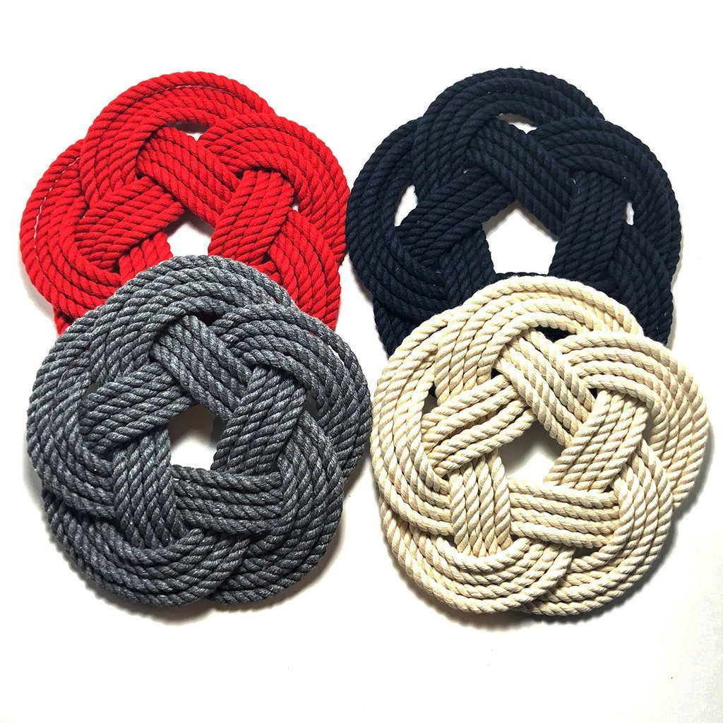"10"" Nautical Sailor Knot Cotton Trivet, Large 4 Color Choices"