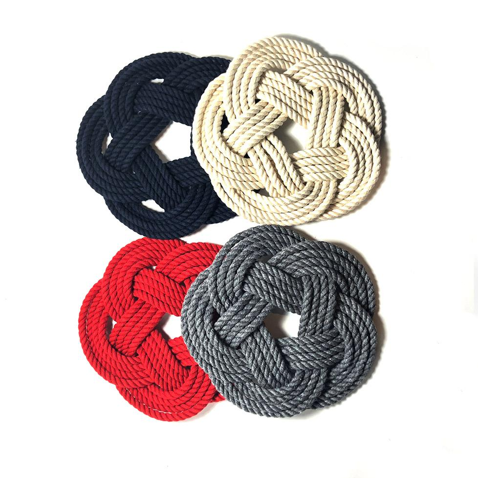 "7"" Nautical Sailor Knot Cotton Trivet, 4 Color Choices, Small"