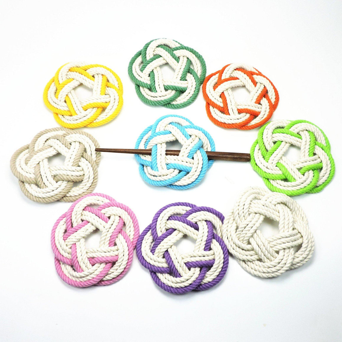 Sailor Knot Hair Stick Barrette, Tropical Colors - Mystic Knotwork nautical knot