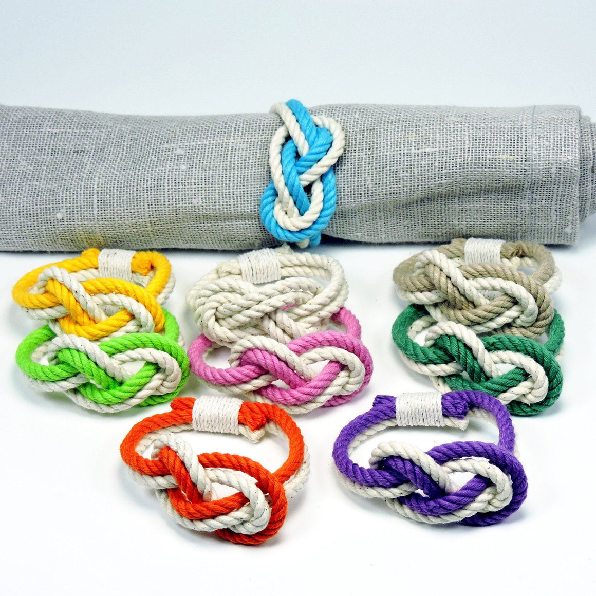 Figure Eight Infinity Knot Napkin Rings, Tropical Colors, Set of 4 - Mystic Knotwork nautical knot