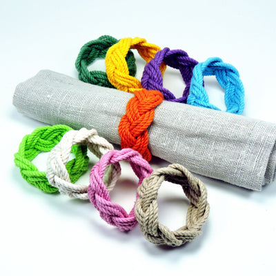 Nautical Knot Sailor Knot Napkin Rings, Tropical Colors, Set of 4 handmade at Mystic Knotwork
