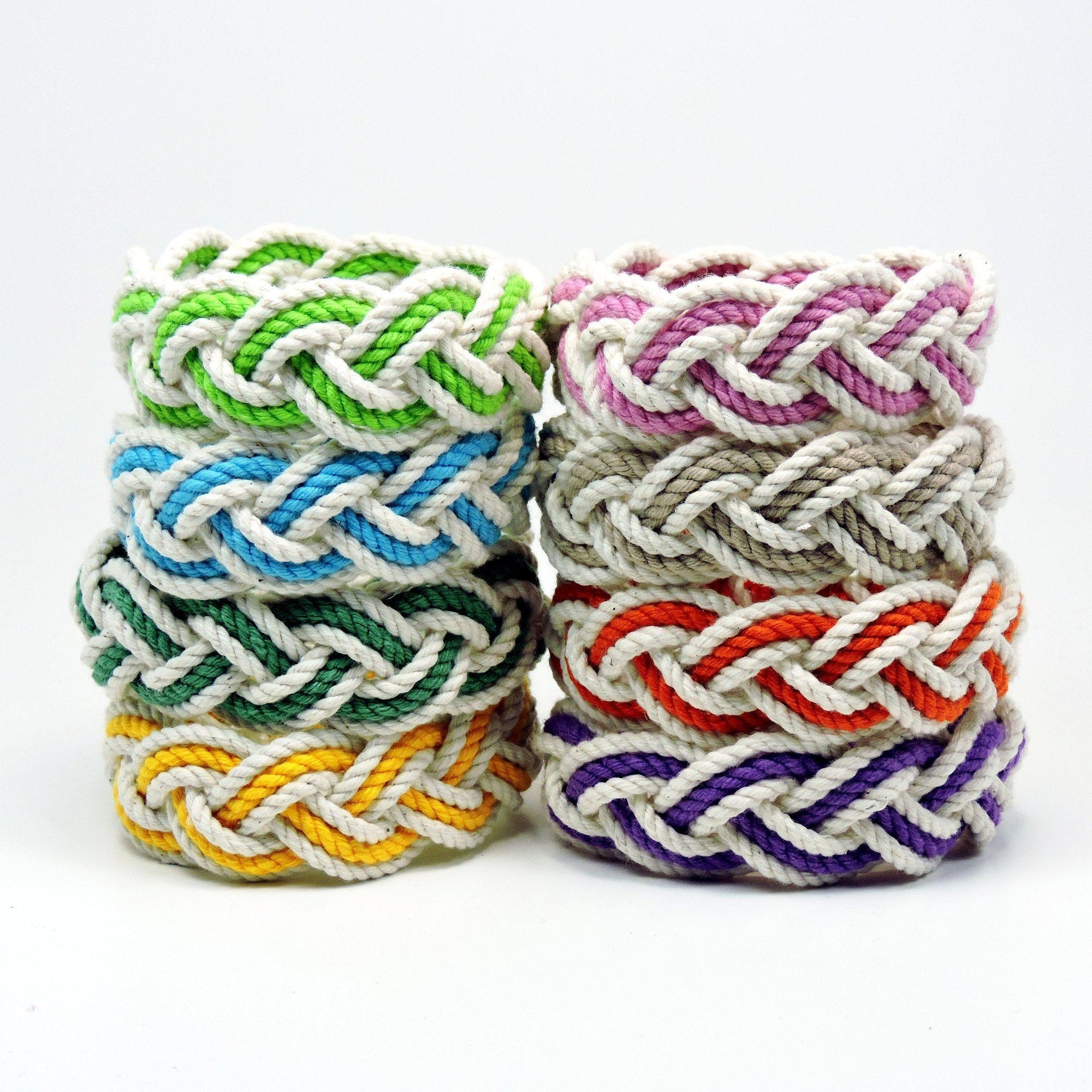 Nautical Knot Striped Sailor Bracelet, White w/ Tropical Color Stripe handmade at Mystic Knotwork