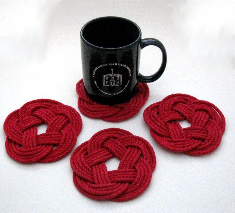 Nautical Sailor Knot Coasters, Woven in Classic Red, Set of 4 Handmade sailor knot American Made in Mystic, CT $ 20.00