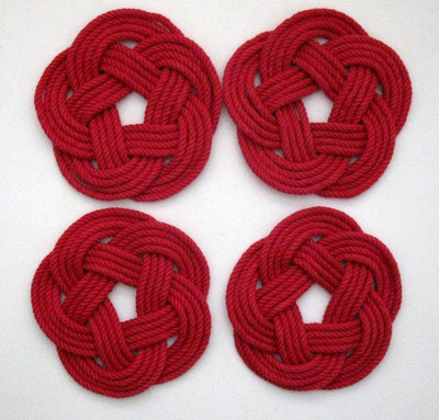 Sailor Knot Coasters, Woven in Classic Red, Set of 4 - Mystic Knotwork nautical knot