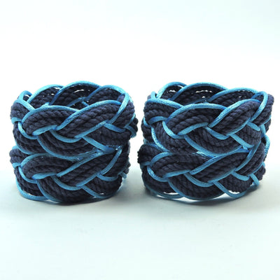Nautical Knot Sailor Knot Napkin Rings, Navy Outlined in Turquoise Satin, Set of 4 - Limited Edition! handmade at Mystic Knotwork