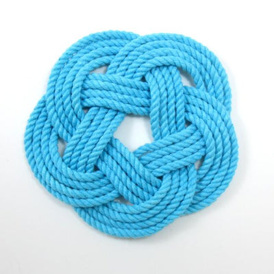 Nautical Sailor Knot Coasters, woven in Turquoise Cotton , Set of 4 Handmade sailor knot American Made in Mystic, CT $ 20.00